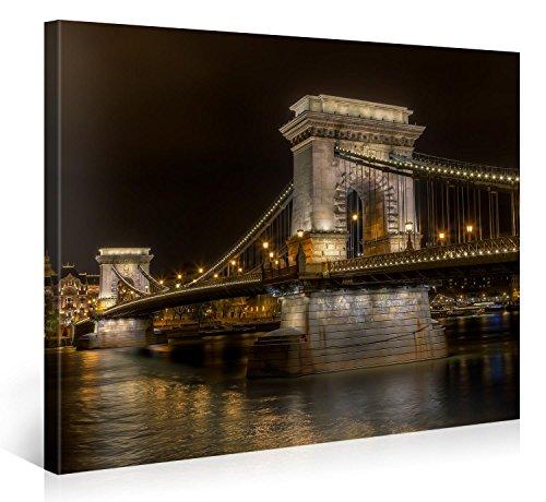 Gallery of Innovative Art – Budapest Bridge – 100x75cm Premium Kunstdruck Wand-Bild – Leinwand-Druck in deutscher Marken-Qualität – Leinwand-Bilder auf Holz-Keilrahmen als moderne Wanddekoration Budapest-bild