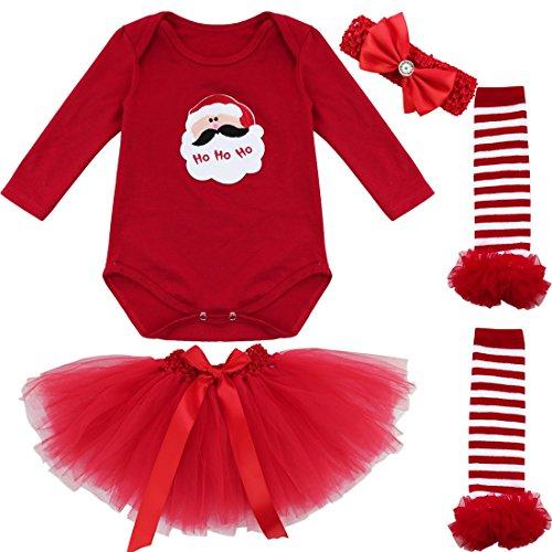 iEFiEL Conjunto Infantil de Navidad Fiesta Pelele + Falda Estilo de Vestido Algodón para Bebé Niña Recién Nacidos Papá Noel 3-6 Meses
