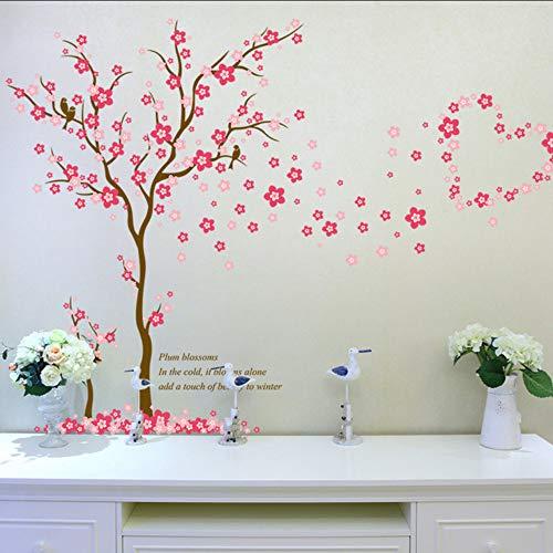 Cmdyz primavera rosa fiori di pesco albero adesivi murali donne soggiorno camera da letto home decor grande ciliegia plum blossom wall stickers decalcomanie