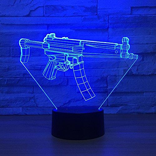 Bbdeng 3D-Nachtlicht Automatisches Maschinengewehr Led-Touch-Farbwechsel Optische T?Uschungslampe Kreative Kinder Mit Schlafender Tischlampe Schlafzimmer Vision Umgebungslichtusb (Automatisches Maschinengewehr)
