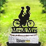 Decoración para tarta de boda Lesbiana con decoración para pastel de bicicleta, diseño de pareja con texto en inglés Mrs and Mrs Cake