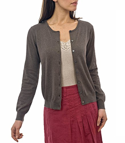 WoolOvers Cardigan à col rond - Femme - Soie & Coton Brown Marl