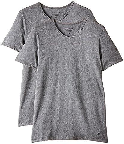 Marc O'Polo Body & Beach Herren Unterhemd SHIRT V-NECK (DOPA), 2er Pack, Gr. Medium, Grau (grau-mel. 202)
