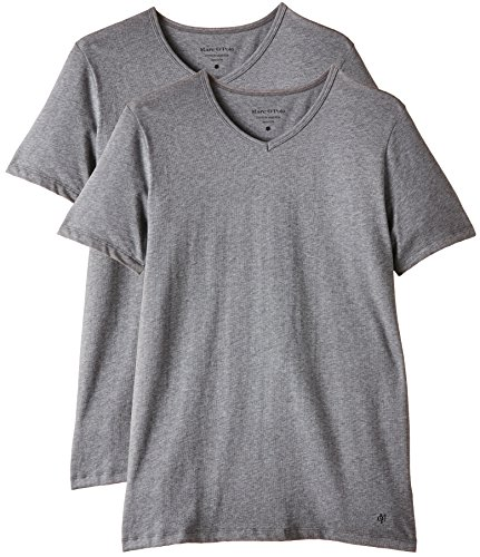 Marc O'Polo Body & Beach Herren Unterhemd SHIRT V-NECK (DOPA), 2er Pack, Gr. XX-Large, Grau (grau-mel. 202) (Body Print Basic Slips)