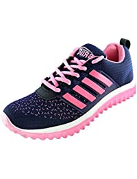 BRiiX Women Navy Blue and Pink Mesh Sports Running Walking Training and Gym  Shoes 44781f40a236