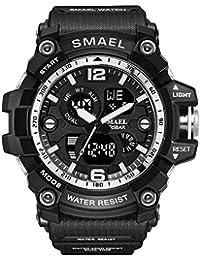 AnazoZ Reloj Hombre Relojes Unisex Reloj Deportivo Reloj Multifunción Reloj Impermeable Relojes Electronicos Negro Plata