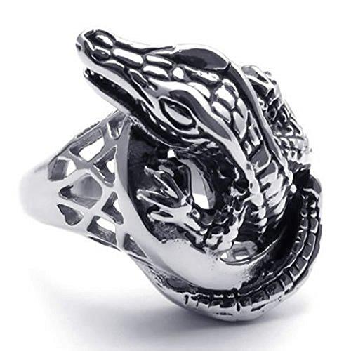 Beydodo Männer Ring Edelstahl Krokodil Ringe für Männer Silber Schwarz Ringgröße62 (19.7) (Crown Für Hip-hop-ringe Männer,)