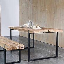 Mesa de comedor industrial metal y teca reciclada 175 a 235 cm Mueble Passion, teca reciclada, natural, 175_x_90_cm
