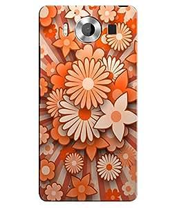 Citydreamz Orange Flowers Hard Polycarbonate Designer Back Case Cover For Microsoft Nokia Lumia 950