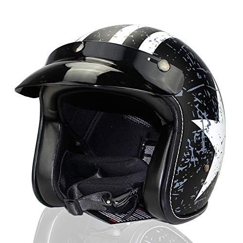 Woljay 3/4 Offener Sturzhelm, Helmet Motorrad-Helm Jet-Helm Scooter-Helm Vespa-Helm Halbhelme Adult Helm Flat mit Rebellen Schwarz + Weiß Star Graphic (XL)