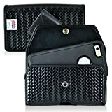 TurtleBack Law Enforcement Rugged Basketweave Genuine Leather Horizontal Duty Belt Police Case with Snap Closure Fits Alcatel A5