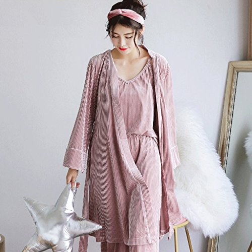 ZLR Primavera Autunno Lady Long Section Sleep Robe Allentato accappatoio manica lunga Casual Home Clothes Accappatoio Set ( Colore : Verde ) Rosa
