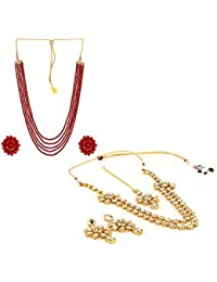 Aradhya Designer COMBO Five Layer Red And Kundan Necklace With Earrings For Women - COMBO For 2 Necklace Set