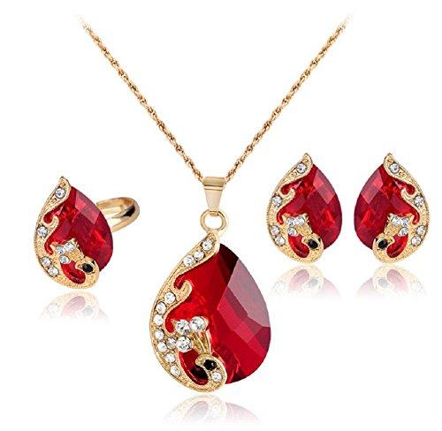 Hosaire 1 Satz von Mode Damen Halskette + Ohrringe + Ringe Tropfenform Kristall Anhänger Women's Earrings Zubehör Mädchen Schmuck Clavicle Ketten Rings (Rote) (Mode Ohrring Und Halskette Set)