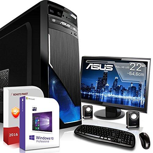 Gaming PC Komplett Set / Multimedia COMPUTER inkl. Win 10 Pro 64-Bit! - Quad-Core Intel Core i5-7500 4x 3,8 GHz - NVIDIA GeForce GTX 1050 Ti mit 4GB GDDR5 - ASUS 22-Zoll TFT Monitor - 8GB DDR4 RAM - 1000GB HDD - 24-fach DVD Brenner - Lautsprecher - Tastatur + Maus - USB 3.0 - HDMI - DVI - Gamer PC mit 3 Jahren Garantie!