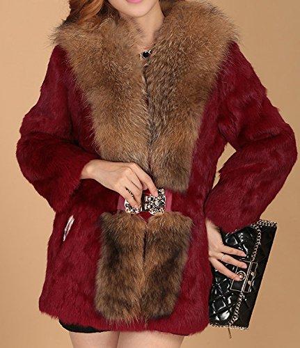 Helan Damen Echt Kaninchen-Pelz-Mantel mit Real Luxury Waschbaren Pelzkragen Rot
