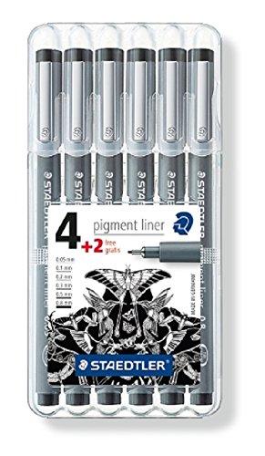 Staedtler 308 SB6P Fineliner pigment liner Set mit 6 Linienbreiten, hohe Qualität, Pigmenttinte, dokumentenecht, lichtbeständig, schwarz (Liner Staedtler Pigment)