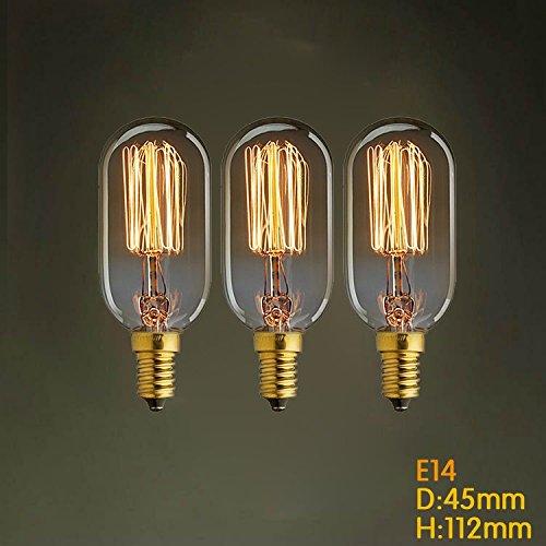 KJLARS 3 X Vintage Edison Glühlampe E14 40W T45 Glühbirne gerade Draht kleine Schraub Retro Bulb Antik Leuchtmittel (Drei Licht-kerzen-kronleuchter)