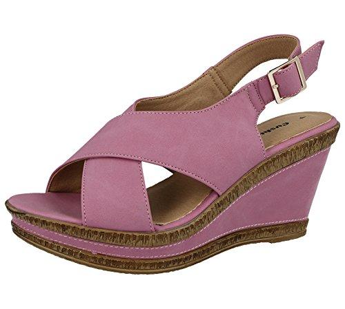 Cushion Walk Damen-Peeptoe-Sandale mit Keilabsatz und Riemen, breite Passform, Leder, Sommersandalen, Größe 3 – 8, Pink - rose - Größe: 36.5 (Damen-cushion Walk)