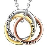 SIMPORDS Damen Halskette Tricolor Vergoldet aus Dreifacher Kreis Wicklung Anhänger mit Gravur Geschenk für Mama
