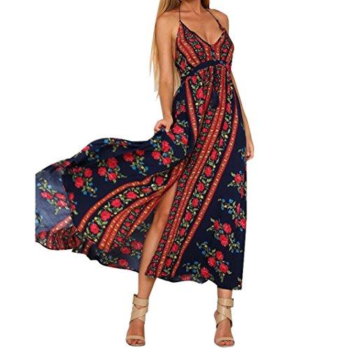 Bovake Frauen Halter Backless Sexy V-Ausschnitt Boho Beach Party Blumen gedruckt Maxi Kleid (XL, (Flapper Mode Red Kleid)