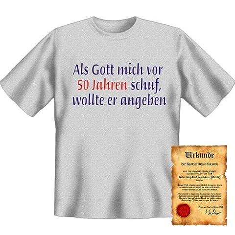 Geburtstag Funshirt - Motiv: Als Gott mich vor 50 Jahren schuf Geschenk Idee Fun T-Shirt Shirt lustig witzig Scherzartikel