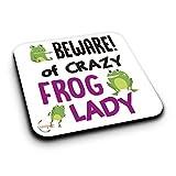 ER469 Beware Crazy Frog Lady - Posavasos de madera de DM, diseño de rana