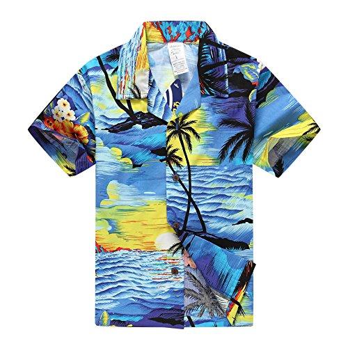 Camisa-hawaiana-de-Aloha-Luau-del-muchacho-Solamente-en-puesta-del-sol-azul-14-Aos