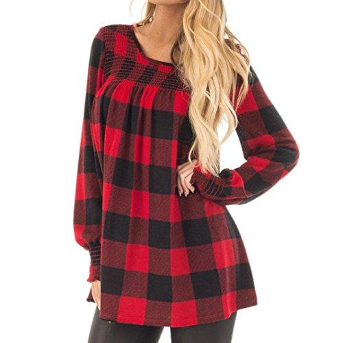 Longra Damen Langarmshirt Kariertes Hemd Karohemd Hemdkleid Damen Slim Fit Freizeit Tunika Blusen Abgerundeter Saum rote Bluse Shirt Oberteil (Red, M) (Checked Shirt-kleid)