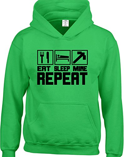 Eat Sleep Mine Repeat Kids Hooded Top