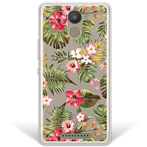 WoowCase Bq Aquaris U Plus Hülle, [Hybrid ] Handyhülle PC + Silikon für [ Bq Aquaris U Plus ] Tropische Blumen 1 Handytasche Handy Cover Case Schutzhülle - Transparent