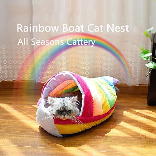 Godyluck Schöne Regenbogen Boot Katze Bett Nest weichen kurzen Plüsch Kätzchen Haus alle Jahreszeiten Cattery für Katzen Kätzchen kleine Hunde Schöne Boote