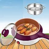 Multifunktionaler Eierkocher Edelstahl gedämpft Eiermuscheln Fried Egg Pfannkuchen Mini Kochtopf Plug Antihaft-Pfanne violett