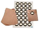 Geschenktüten-Set: 24 braune flache Papiertüten Tütchen 10,5 x 15 + 2 cm Lasche und 24 Stück blanko leere beschreibbare neutrale beige braune vintage Nostalgie Sticker Etiketten Aufkleber 4 cm