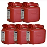 5er Set: 5x Benzinkanister 5 Liter in Rot mit UN-Zulassung Made in Germany