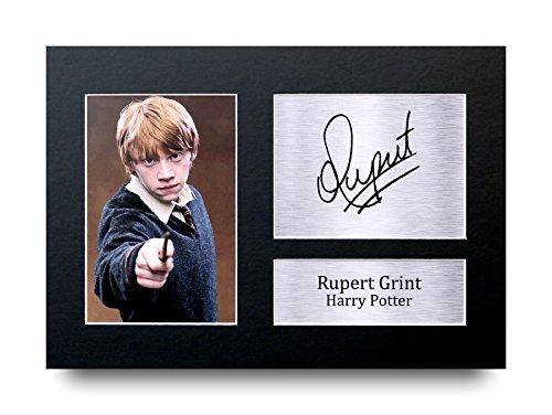 Rupert Grint Los Regalos Firmaron A4 la Dedicatoria Impresa Harry Pott
