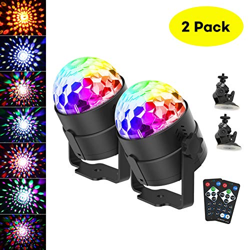 CrazyFire Discokugel LED Party Lampe,Disco Lichteffekte Sprachaktiviertes Kristall Magic Ball Bühnenlicht,7 Farbe RGB 360° Drehbares Partylicht mit Fernbedienung für Show Disco Ballsaal KTV Stab
