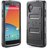 Google Nexus 5Case, i-Blason Armorbox by LG Dual Layer Hybrid Full Protective Cover with Built-in Screen Protector/Impact Resistant Case and impact-resistant Shock Rods (Black)