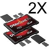 DiMeCard-SD Porte Cartes Mémoire SD + microSD MULTI-PACK, 2 pièces (format carte de crédit, étiquette inscriptible)