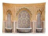 ABAKUHAUS Marocain Tapisserie, Fontaine Marocaine Typique en Mosaïque de la Ville de Rabat Près de la Tour Hassan, Aucune décoloration, 150 x 110 cm, des Bois