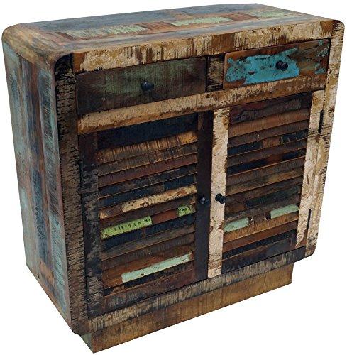 Guru-Shop Poitrine Vintage Avec Portes Persiennes et Deux Tiroirs HO11018, 90x90x38 cm, Commodes