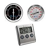 Lantelme 6026 Grillthermometer und Einstichthermometer Analog und Grilltimer Digital im Set . Grill Timer und Thermometer aus Edelstahl - Grillzubehör für Ihr Grillvergnügen