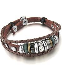 MunkiMix Metalllegierung Legierung Echtleder Armband Armreifen CZ Zirkon Zirkonia Braun Schwarz Einstellbar Verstellbaren Tribal Stammes Herren,Damen