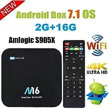 Viden Box TV Android 7.1Smart TV Box Amlogic S905X Quad Core 2 Go RAM 16 Go de Rom 4K x 2K UHD H.265 HDMI USB x 2 2,4 GHz WiFi Bluetooth 4.0 + Télécommande