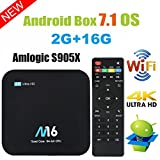 TV Box Android 7.1 – Viden Smart TV Box Amlogic S905 X Quad Core, 2 GB RAM & 16 GB ROM, UHD 4 K * 2 K H.265, HDMI, USB * 2, 2.4 GHz Wi-Fi, Bluetooth 4.0, Web TV Box, Android set-top box + telecomando