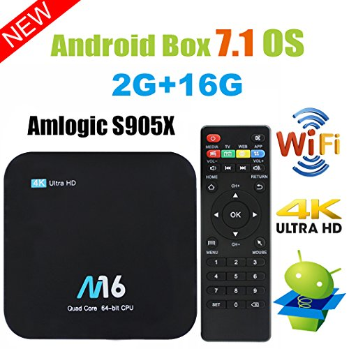 Viden Box TV Android 7.1 Smart TV Box Amlogic S905X Quad Core 2 Go RAM 16 Go de Rom 4 K x 2K UHD H.265 HDMI USB x 2 2,4 GHz WiFi Bluetooth 4.0 + Télécommande