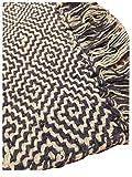 Second Nature Online - Alfombra de algodón Suave con patrón geométrico de Rejilla/Diamante, Comercio Justo, Colores claros, Disponible en Dos tamaños y Cinco Colores, algodón, Antracita, 75cm x 135cm