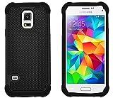 G-Shield Samsung Galaxy S5 Mini Hülle Silikon Stoßfest Schutzhülle Dünn Tasche Hybrid Armor Cover Case Etui Handyhülle mit Displayschutzfolie und Stylus (G800F) - Schwarz