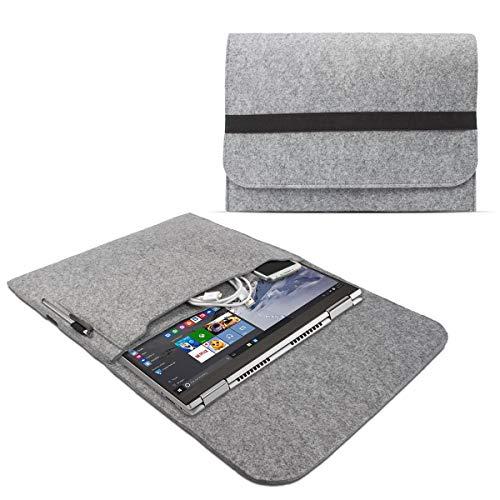 eFabrik Schutzhülle für Lenovo Yoga 730 (13\') / Yoga 720 (13,3\') / Yoga 710 (14\') Filz Tasche Ultrabook Notebook Sleeve Case Soft Cover Schutztasche, Farbe:Grau