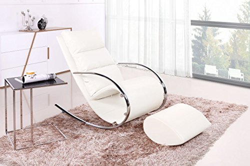 Schaukelstuhl Mit Hocker Luanda 28, Farbe: Weiß   Abmessungen: 111 X 67 X